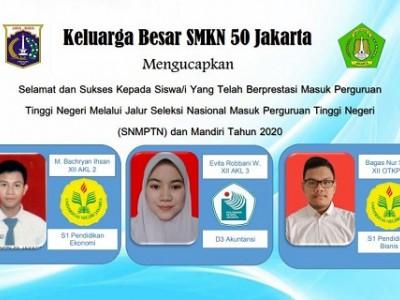 Siswa/i SMKN 50 yang diterima di PTN